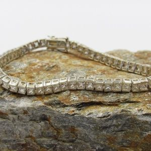 "Vintage 7.5"" Sterling Clear CZ Diamond Bracelet"